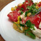 Салат из кукурузы, помидоров и феты