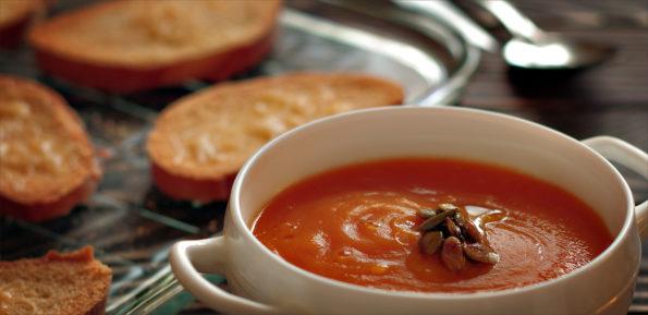 тыквенный суп с чесночными гренками
