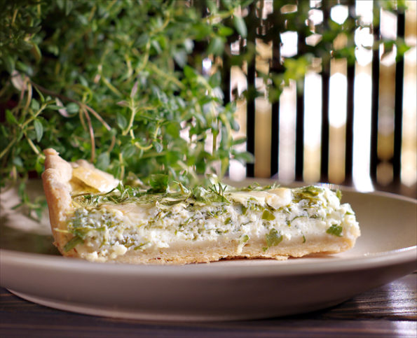 зеленый киш с козьим сыром